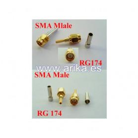 Conector SMA macho para cables RG174 y RG316