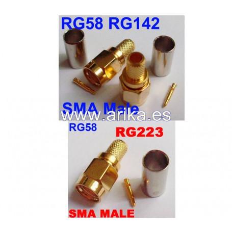 Conector SMA macho para cables RG59 y RG223