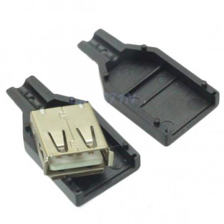 Conector USB A hembra con carcasa
