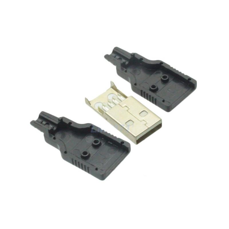 Conector USB A macho con carcasa