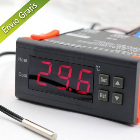 Termostato Controlador de TEMPERATURA DIGITAL con Sonda,Rele,Frio,Camaras,Grow