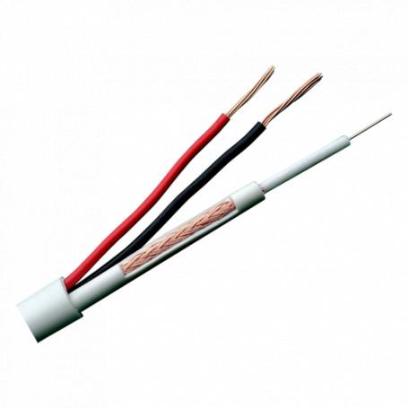 Cable combinado Micro RG59 y alimentación para instalaciones CCTV. Rollo de 100 metros. Cubierta color blanco