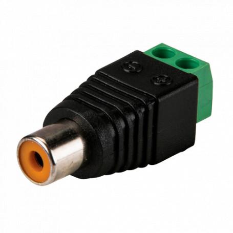 Conector RCA hembra con salida +/- de 2 terminales