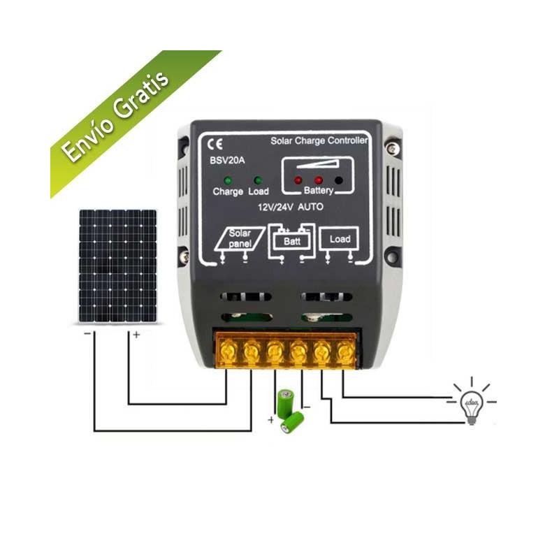 Controlador de carga placas solares 12v/24v
