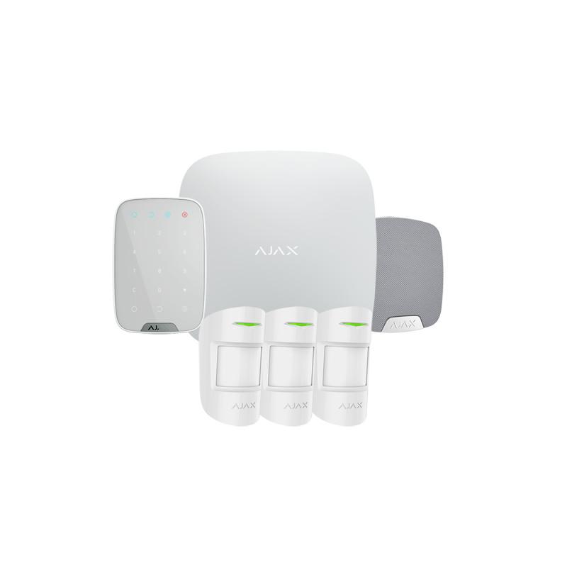 Kit de alarma Ajax – Básico + teclado + sirena interior + 3 volu – Blanco